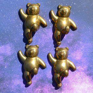 Vintage 4 Brass Bear Wall Mount Hooks